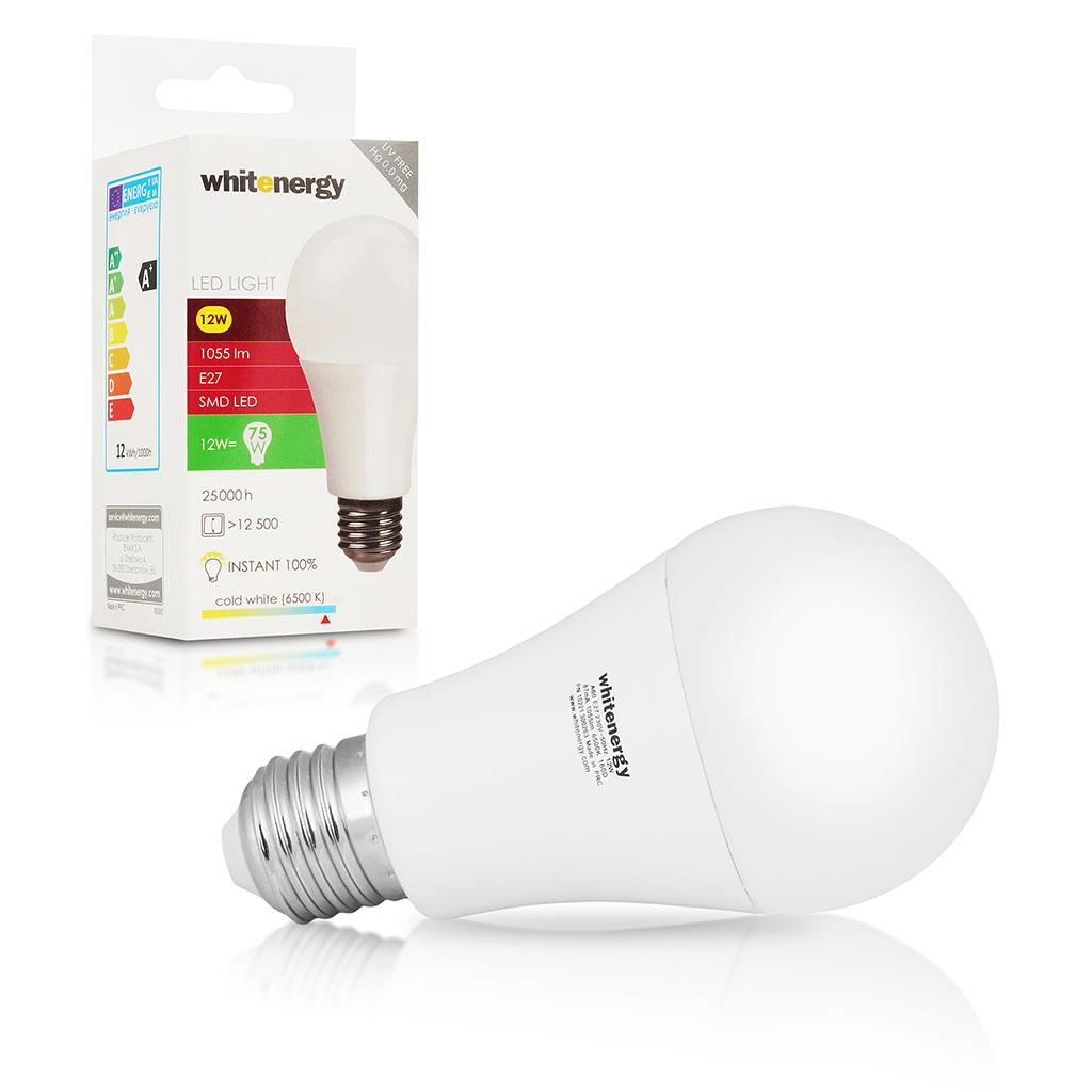 WE LED žárovka SMD2835 A60 E27 12W studená bílá