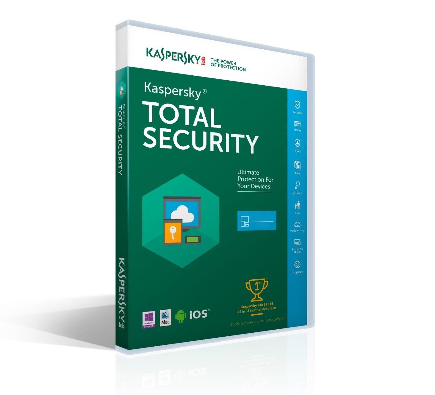 Kaspersky Total Security MD 2017 1PC/2roky obnova
