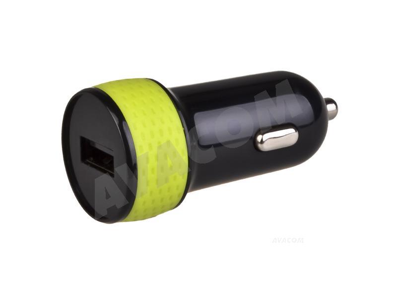 Nabíječka do auta AVACOM NACL-1XKG-10A s výstupem USB 5V/1A, černo-zelená barva