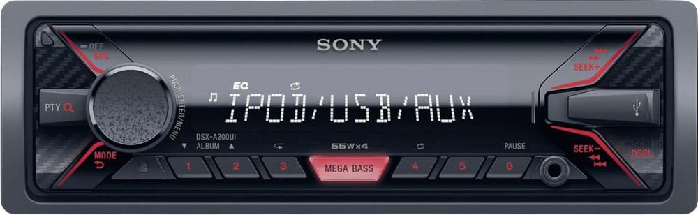 Sony autorádio DSX-A200U bez mechaniky,USB,červená