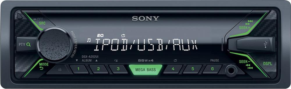 Sony autorádio DSX-A202U bez mechaniky,USB, zelená