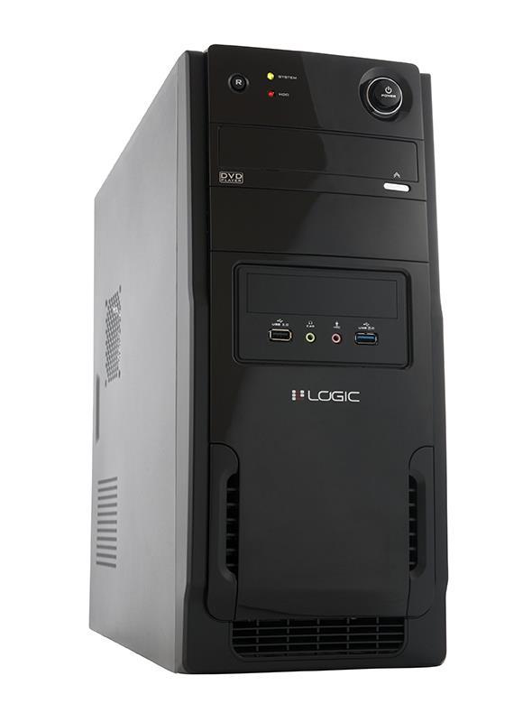 LOGIC PC skříň A11 Midi Tower, zdroj LOGIC 600W ATX PFC, USB 3.0