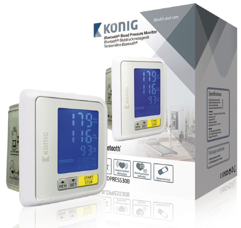 VÝPRODEJ - KÖNIG Bluetooth měřič krevního tlaku na zápěstí - KN-BLDPRESS30B