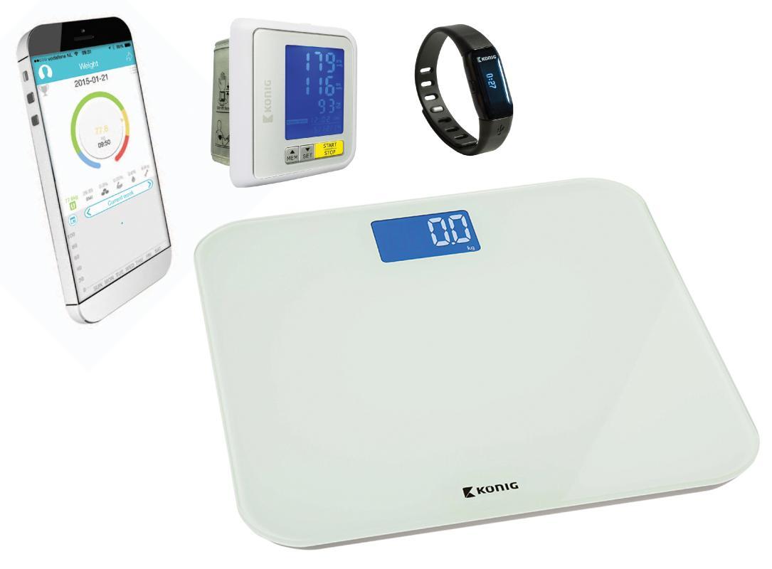 König HEALTHPROMO2 - Bluetooth® fitness náramek + osobní váha + měřič krevního tlaku na zápěstí