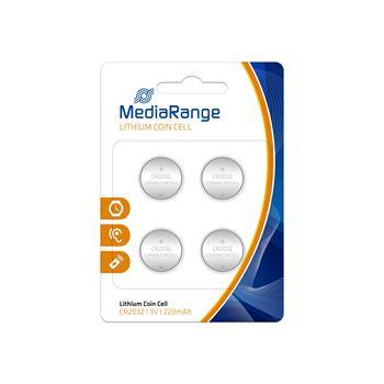 MediaRange Premium baterie Coin Cells, CR2032 3V Lithium 4ks