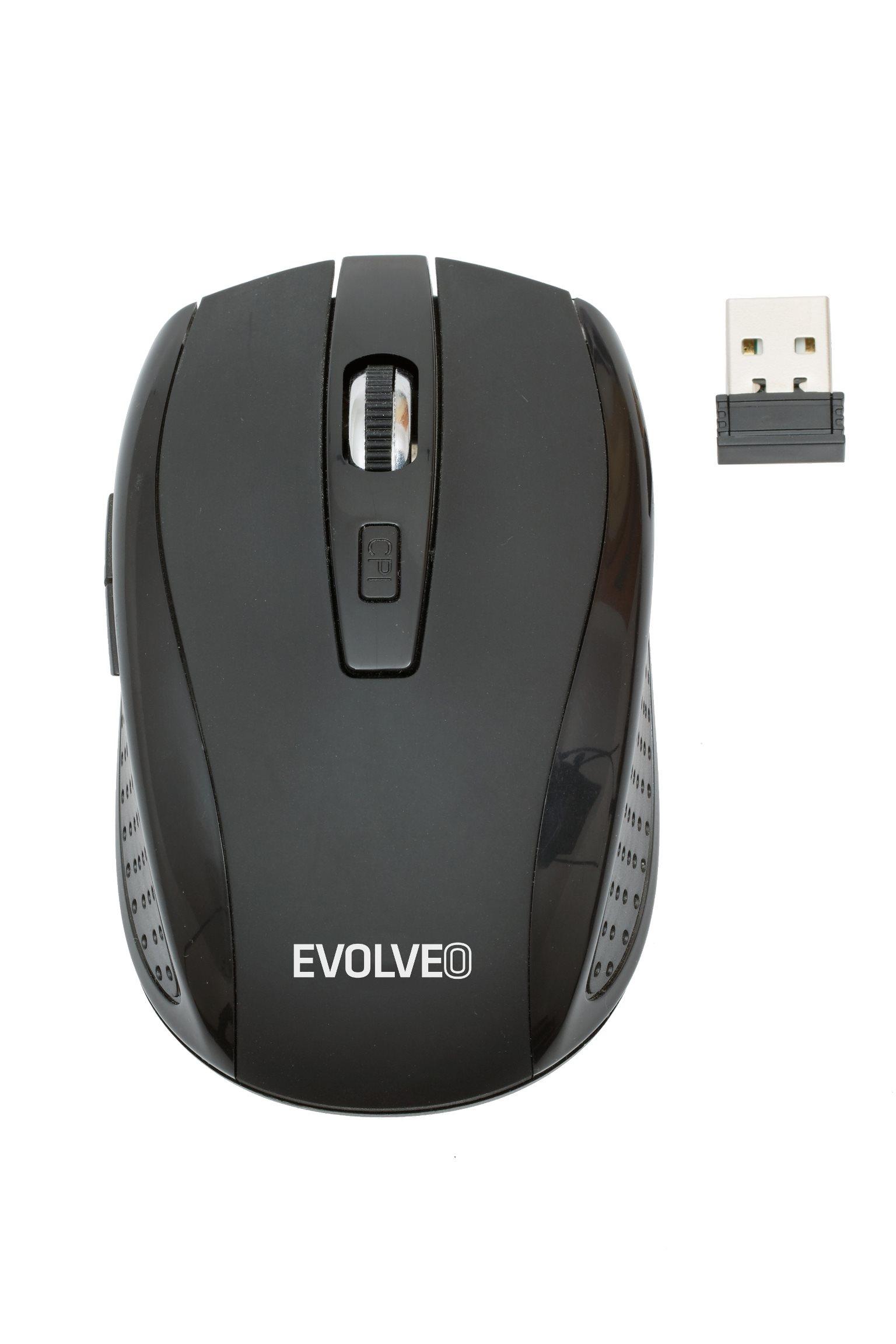 EVOLVEO WML-242B bezdrátová myš, 1600DPI, 2.4GHz, Nano příjímač, USB