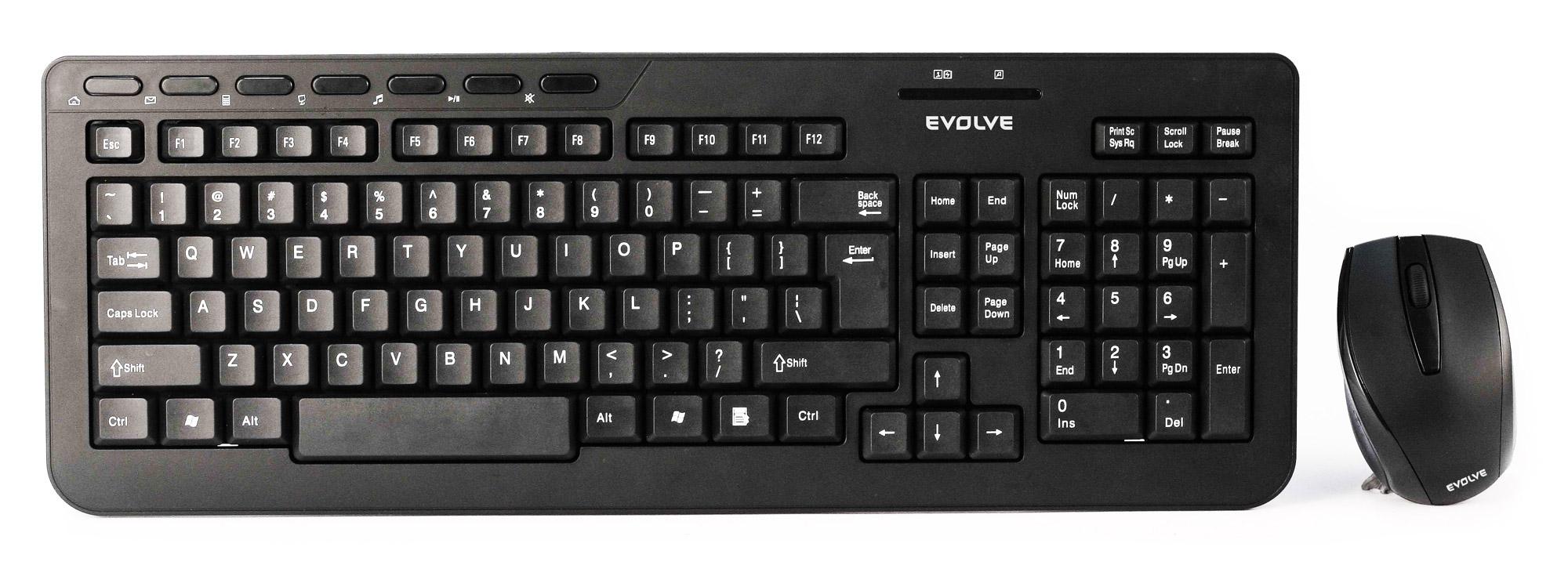 EVOLVEO WK-210 set bezdr. klávesnice a myši, CZ/US, USB