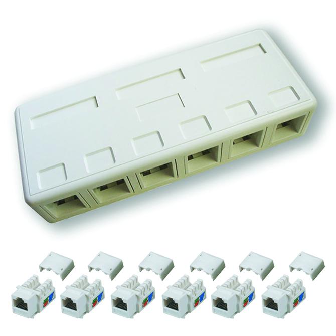 DATACOM zásuvka UTP CAT5E 6xRJ45 na omítku bílá