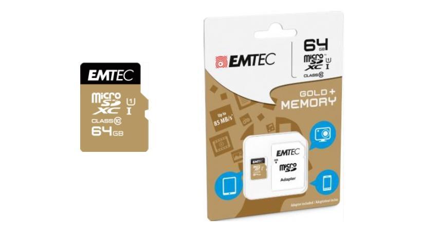 Emtec memory card microSDXC 64GB Class 10 Gold+ (85MB/s, 21MB/s)
