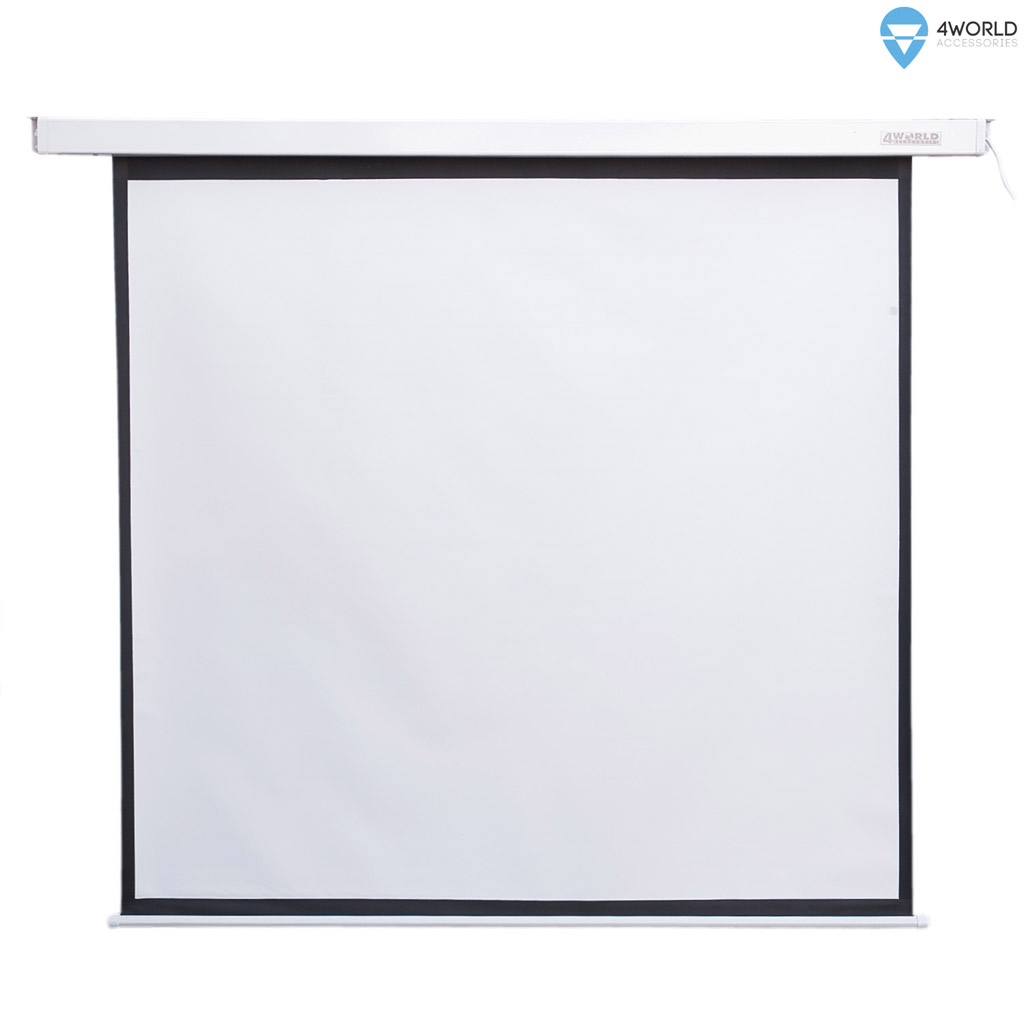 4World Elektrické promítací plátno, dálkový ovladač, 140x140 (1:1) bílá matná