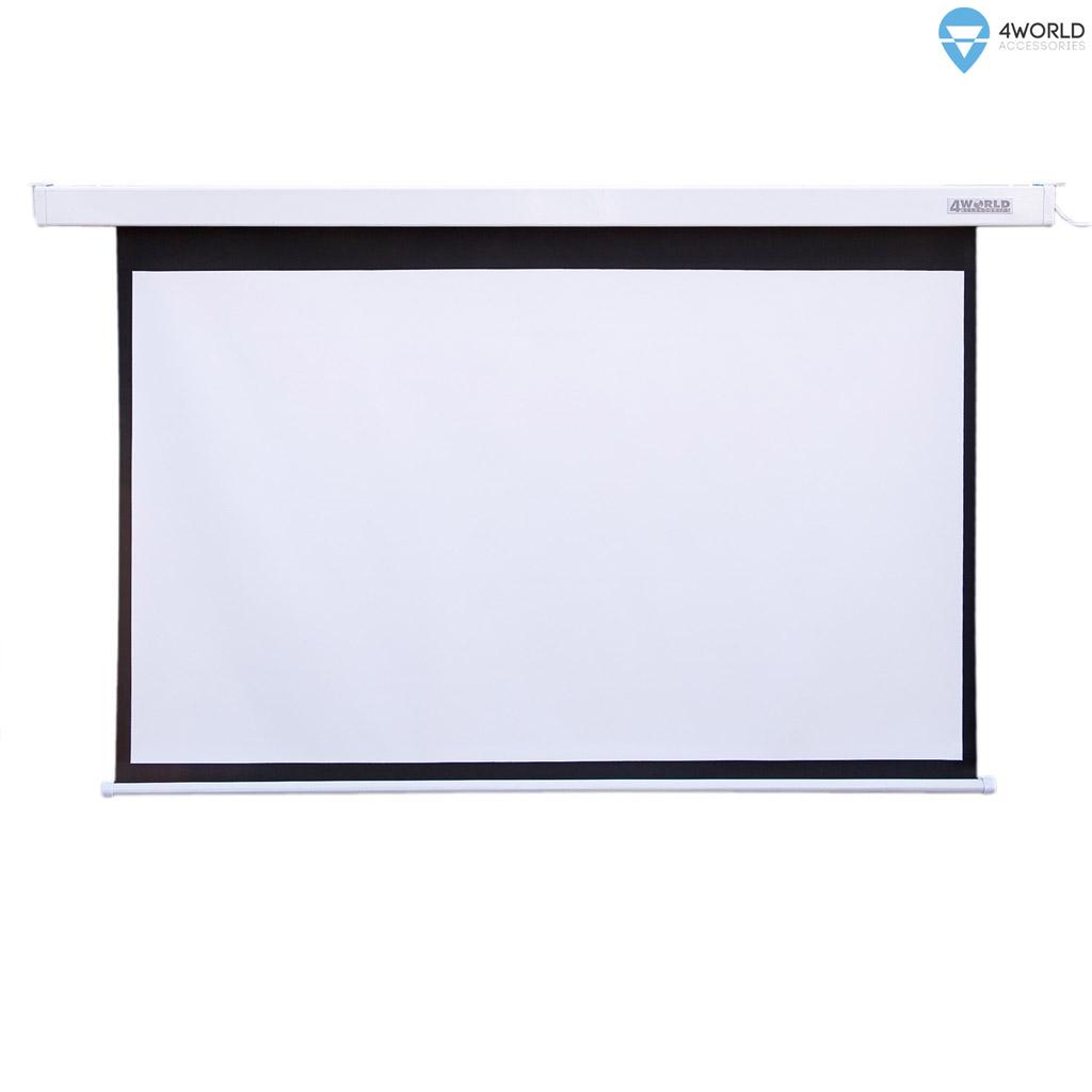 4World Elektrické promítací plátno, dálkový ovladač, 186x105 (16:9) bílá matná