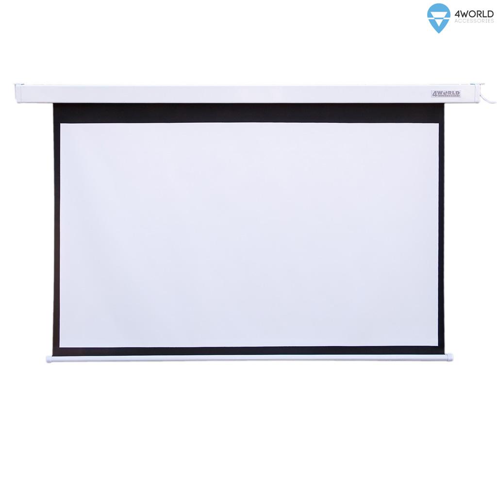 4World Elektrické promítací plátno, dálkový ovladač, 221x124 (16:9) bílá matná
