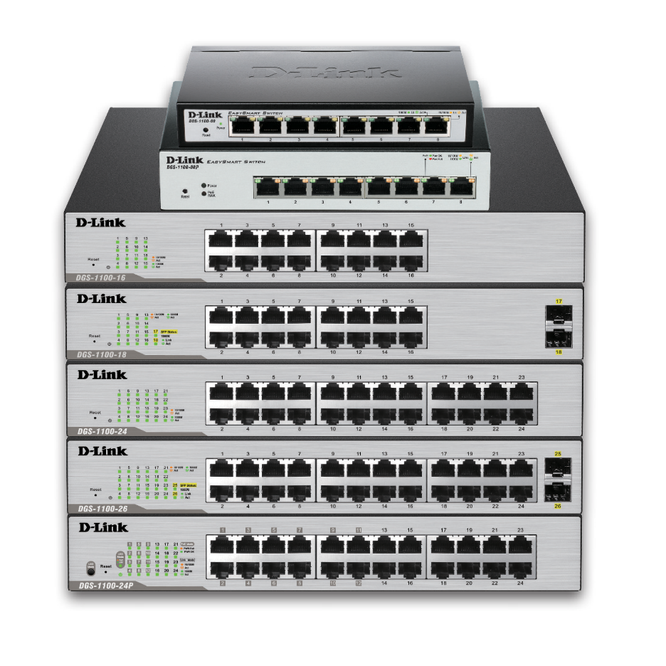 D-Link DGS-1100-26MP 26-Port Gigabit Max PoE Smart Managed Switch including 2 comb ports (24 x PoE ports, fan)