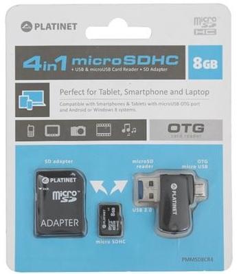 PLATINET 4-in-1 microSD 8GB + čtečka paměťových karet + OTG + ADAPTER