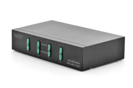 Digitus USB-KVM Switch, 1User 4 PCs, Desktop, w/ audio support, w/o cables Mouse Clicking Function