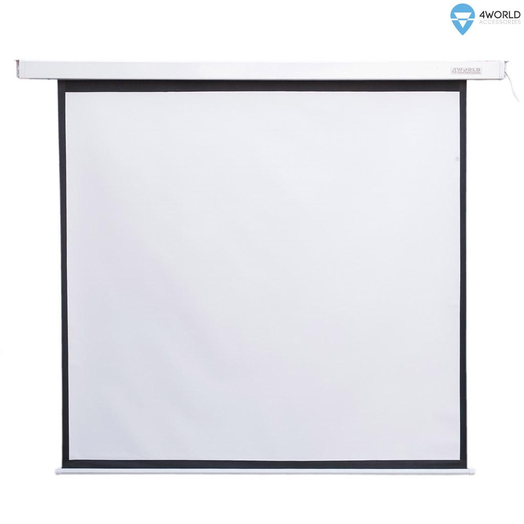 4World Elektrické promítací plátno, dálkový ovladač, 152x152 (1:1) bílá matná