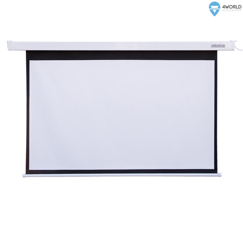 4World Elektrické promítací plátno, dálkový ovladač, 145x110 (4:3) bílá matná