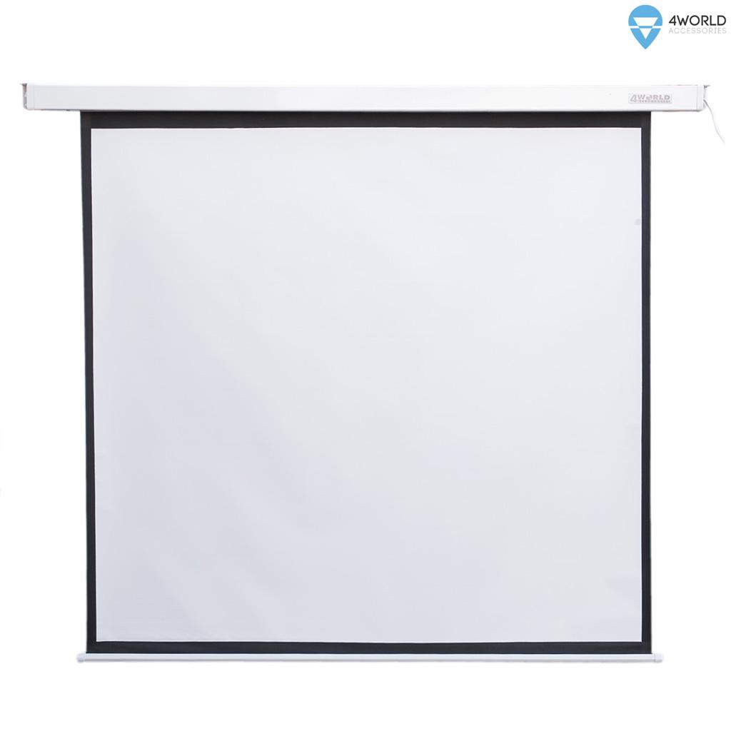 4World Elektrické promítací plátno, dálkový ovladač, 159x90 (16:9) bílá matná