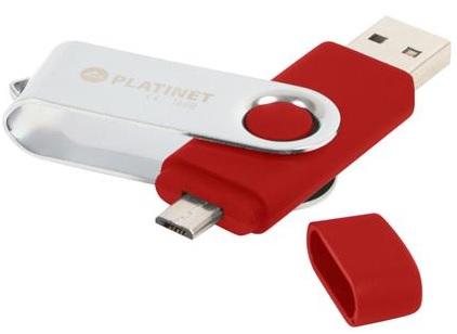 PLATINET ANDROID PENDRIVE USB 2.0 BX-Depo 32GB + microUSB červený