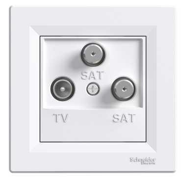 Asfora - Zásuvka TV-SAT-SAT, koncová - 1 dB - bílá