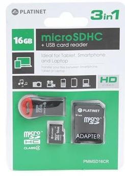 Platinet 3-in-1 microSD 16GB + čtečka paměťových karet + ADAPTER