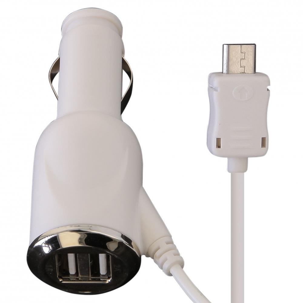 GT SPLIT nabíječka do auta 3A, micro USB + mini USB + 2x USB, bílá