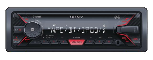 SONY DSX-A400BT - Bezmechanikové autorádio s Bluetooth Hands-free sadou , přehrává MP3/ WMA/AAC, výkon 4 x 55 W