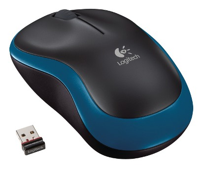 Logitech myš Wireless Mouse M185 Blue, nano, podpora unifying