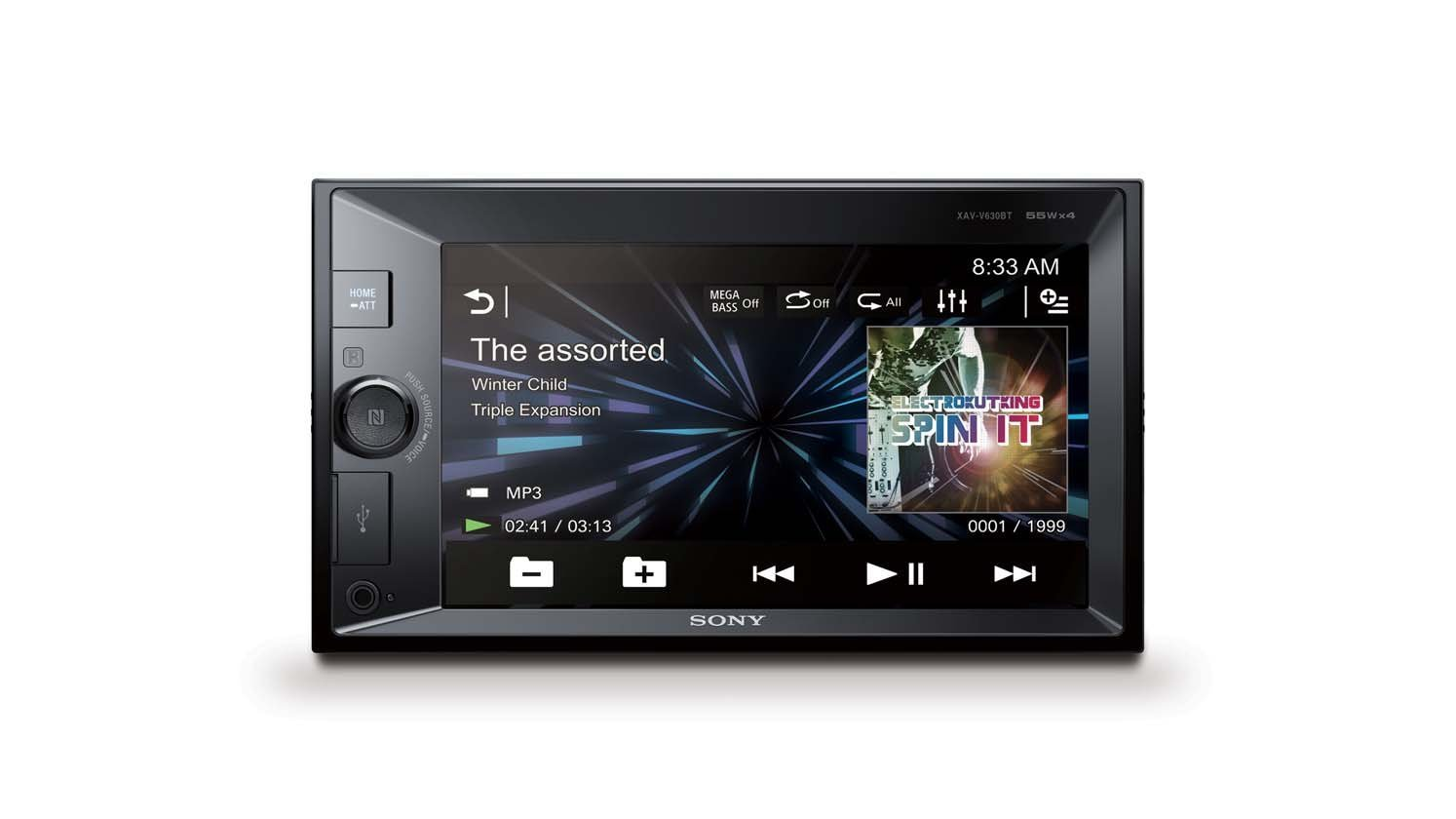 Sony autorádio XAV-V630BT multimediální, dot. display, XVid/MP3, USB/AUX, BT/NFC