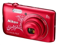 NIKON COOLPIX A300 - 20,1 MP, 8x zoom VR - Red Lineart
