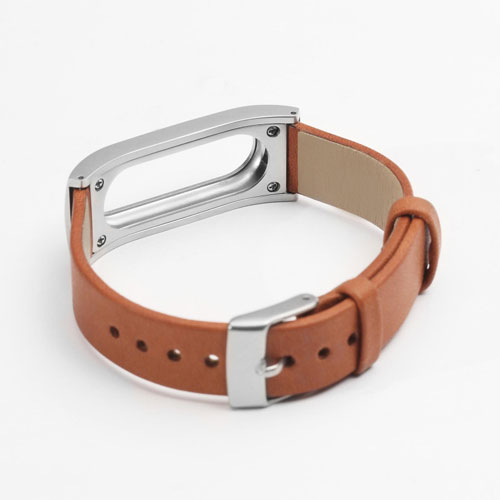 Xiaomi MiBand Leather and metal wrist strap