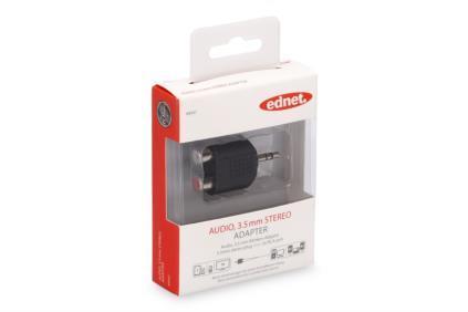 EDNET Audio MiniJack/Cinch stereo Adapter 3.5mm (plug)/2xRCA (jack) black
