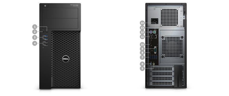 DELL Precision T3620 E3-1240 v5/16GB/256GB SSD/2TB/4GB Quadro K2200/klávesnice+myš/Win 7 Pro