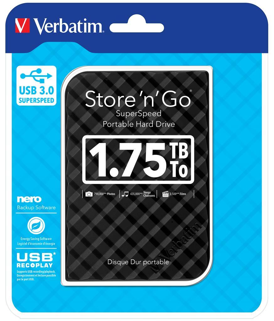 """VERBATIM Hard Drive 2,5"""" 1.75TB Gen2 USB 3.0 Black"""